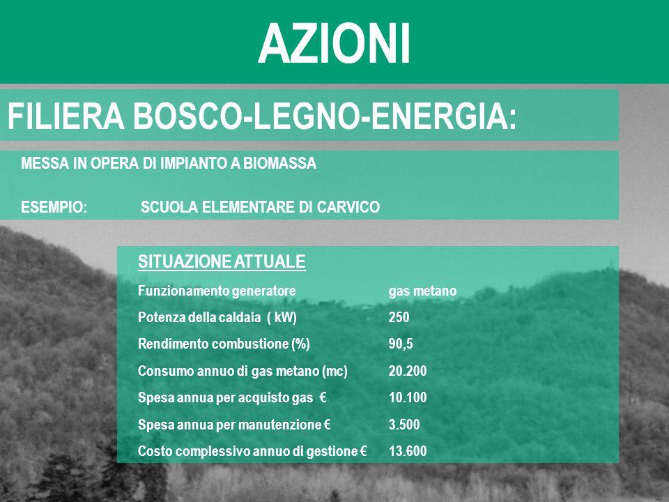 AZIONI FILIERA BOSCO-LEGNO-ENERGIA: MESSA IN OPERA DI IMPIANTO A BIOMASSA ESEMPIO: SCUOLA ELEMENTARE DI CARVICO SITUAZIONE ATTUALE Funzionamento gener
