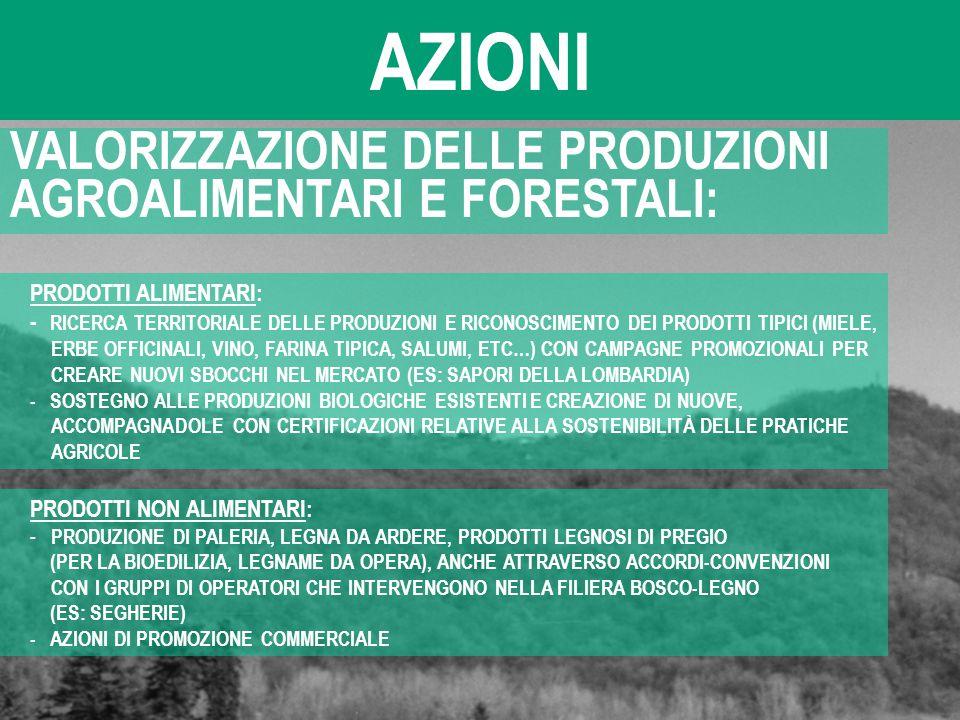 AZIONI VALORIZZAZIONE DELLE PRODUZIONI AGROALIMENTARI E FORESTALI: PRODOTTI ALIMENTARI: - RICERCA TERRITORIALE DELLE PRODUZIONI E RICONOSCIMENTO DEI P