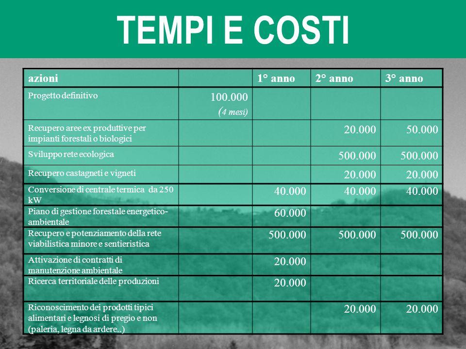 TEMPI E COSTI azioni1° anno2° anno3° anno Progetto definitivo 100.000 ( 4 mesi) Recupero aree ex produttive per impianti forestali o biologici 20.0005