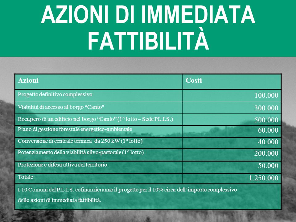 """AZIONI DI IMMEDIATA FATTIBILITÀ AzioniCosti Progetto definitivo complessivo 100.000 Viabilità di accesso al borgo """"Canto"""" 300.000 Recupero di un edifi"""