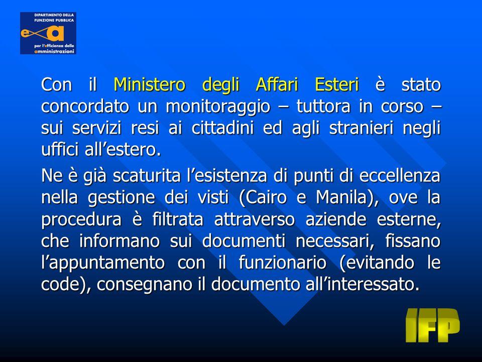 Con il Ministero degli Affari Esteri è stato concordato un monitoraggio – tuttora in corso – sui servizi resi ai cittadini ed agli stranieri negli uffici all'estero.