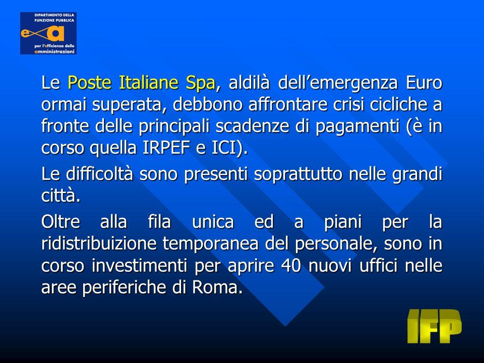 Le Poste Italiane Spa, aldilà dell'emergenza Euro ormai superata, debbono affrontare crisi cicliche a fronte delle principali scadenze di pagamenti (è in corso quella IRPEF e ICI).
