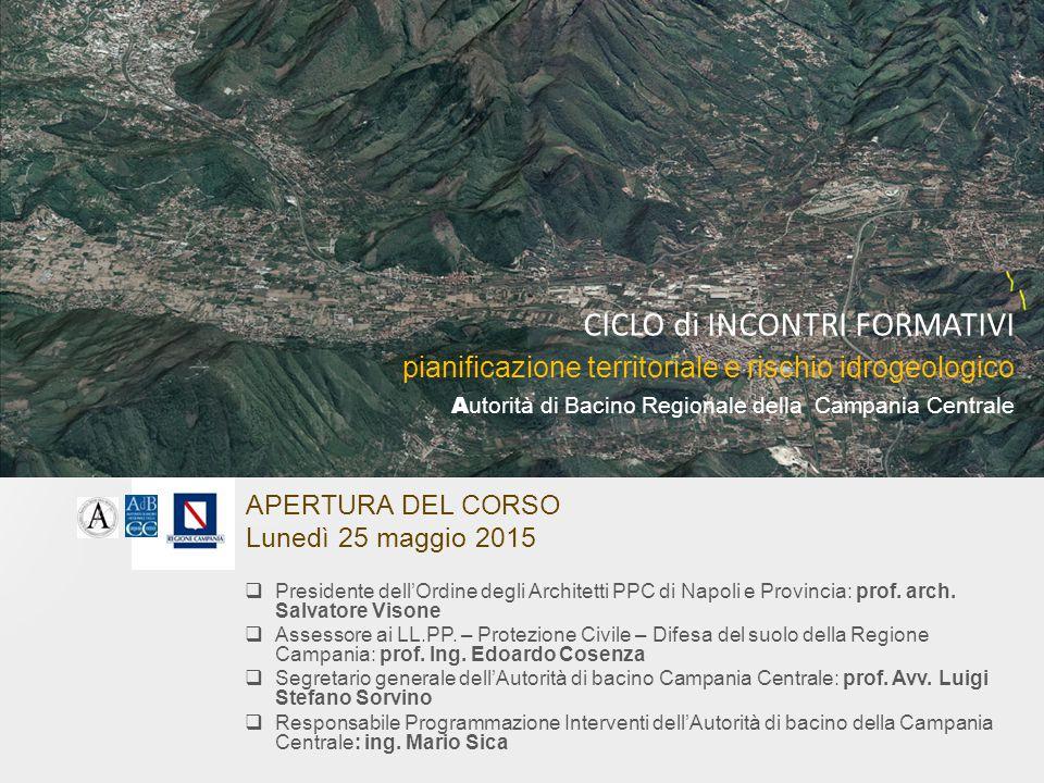 APERTURA DEL CORSO Lunedì 25 maggio 2015  Presidente dell'Ordine degli Architetti PPC di Napoli e Provincia: prof. arch. Salvatore Visone  Assessore
