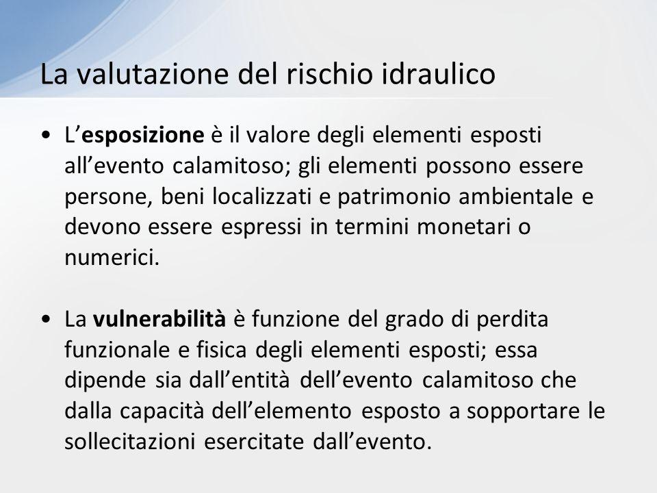 L'esposizione è il valore degli elementi esposti all'evento calamitoso; gli elementi possono essere persone, beni localizzati e patrimonio ambientale