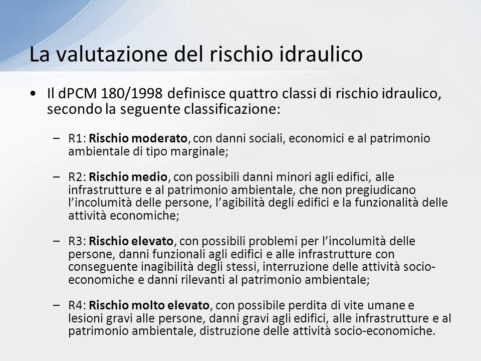 Il dPCM 180/1998 definisce quattro classi di rischio idraulico, secondo la seguente classificazione: –R1: Rischio moderato, con danni sociali, economi