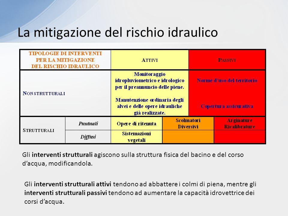 La mitigazione del rischio idraulico Gli interventi strutturali agiscono sulla struttura fisica del bacino e del corso d'acqua, modificandola. Gli int
