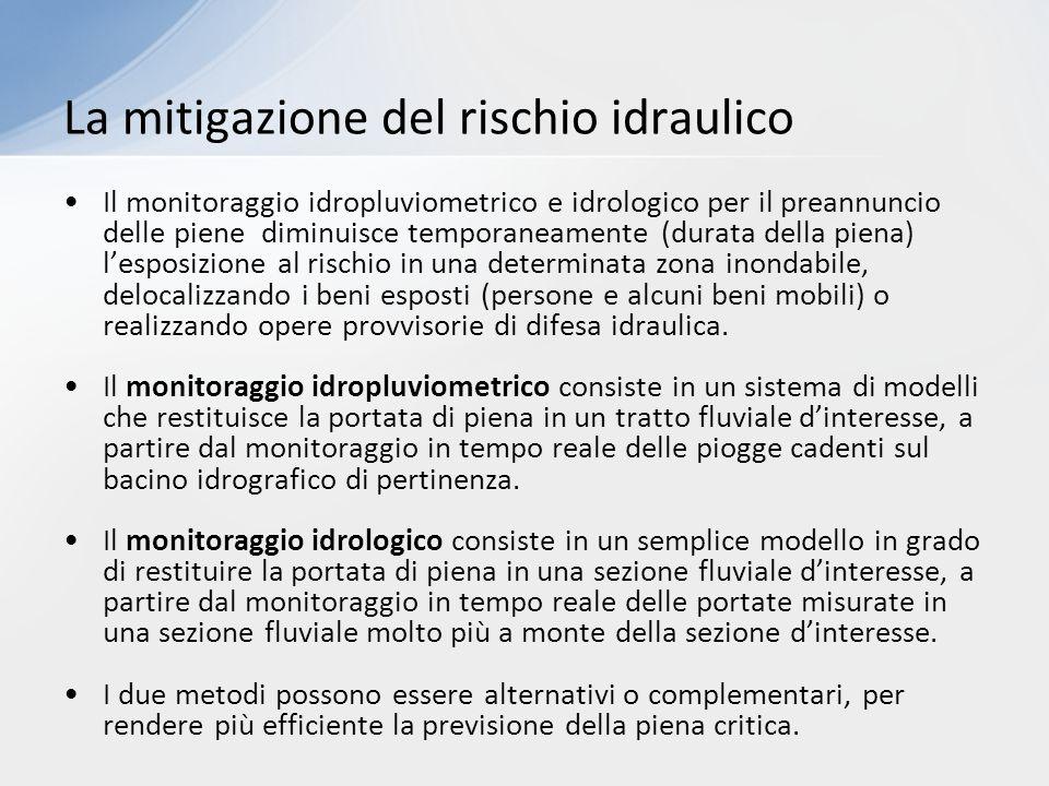 Il monitoraggio idropluviometrico e idrologico per il preannuncio delle piene diminuisce temporaneamente (durata della piena) l'esposizione al rischio