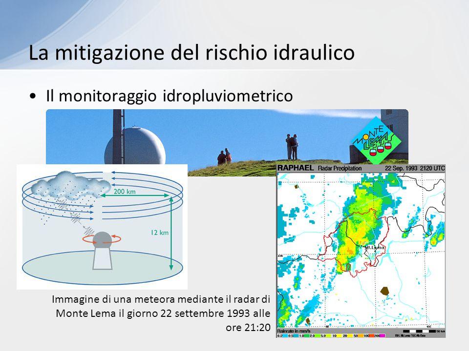 Il monitoraggio idropluviometrico La mitigazione del rischio idraulico Immagine di una meteora mediante il radar di Monte Lema il giorno 22 settembre 1993 alle ore 21:20