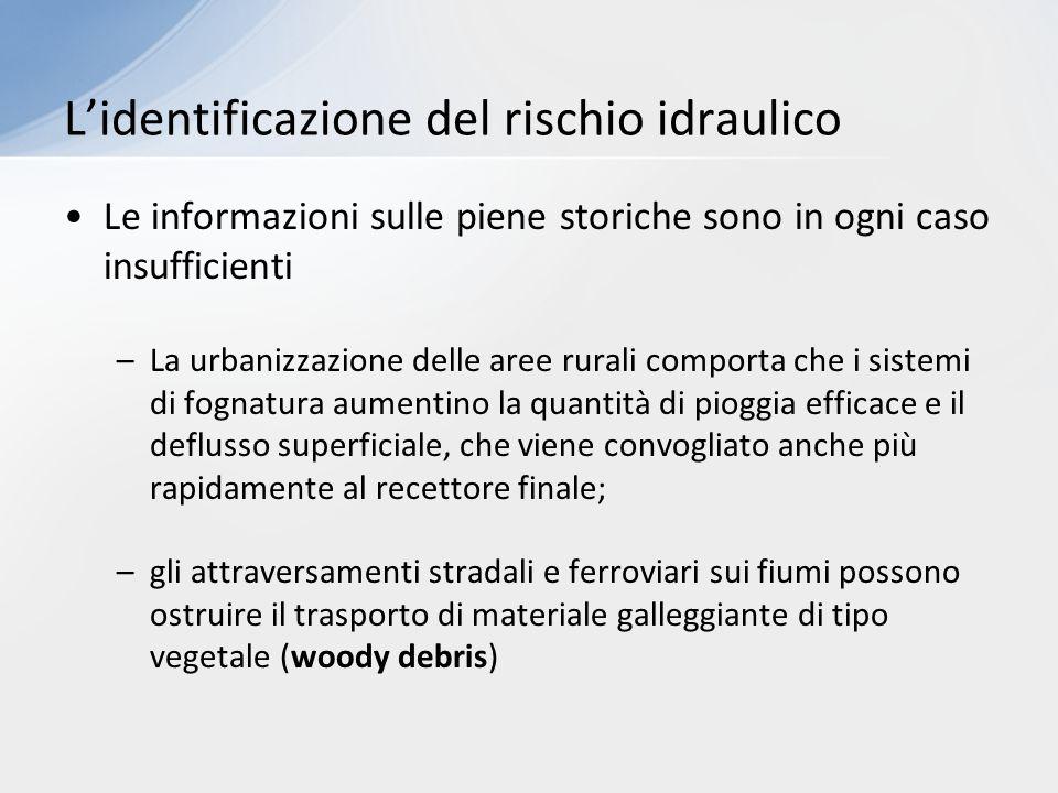 Le informazioni sulle piene storiche sono in ogni caso insufficienti –La urbanizzazione delle aree rurali comporta che i sistemi di fognatura aumentin