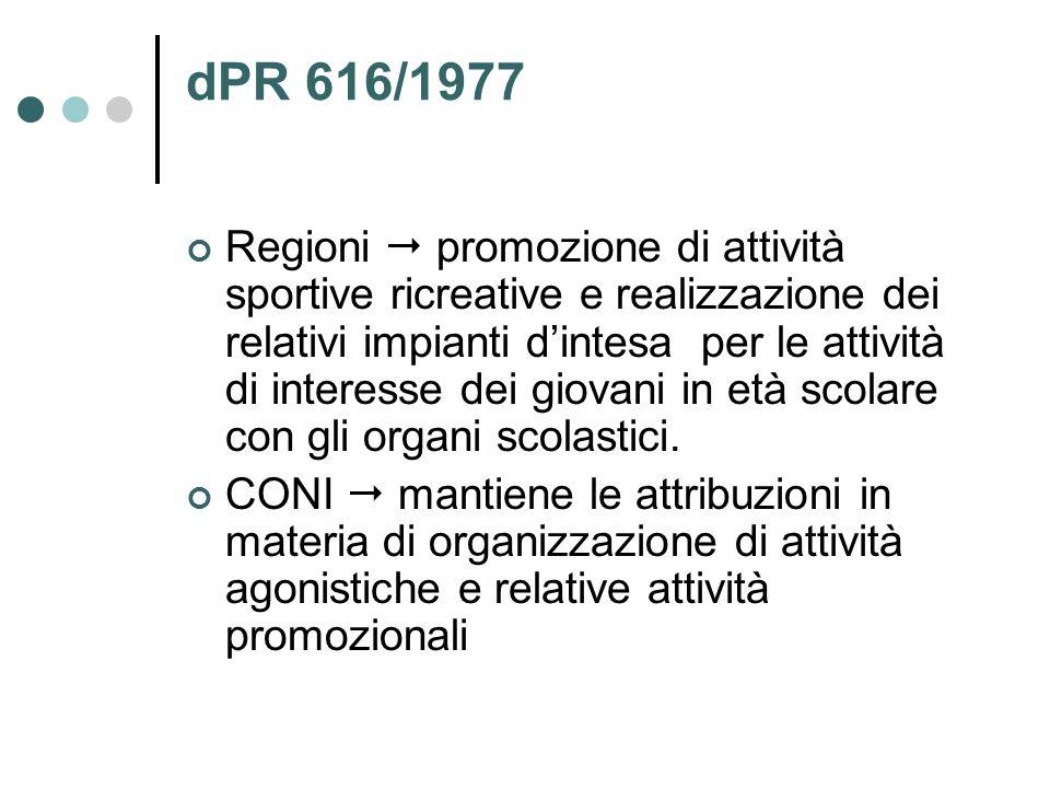 dPR 616/1977 Regioni  promozione di attività sportive ricreative e realizzazione dei relativi impianti d'intesa per le attività di interesse dei giovani in età scolare con gli organi scolastici.