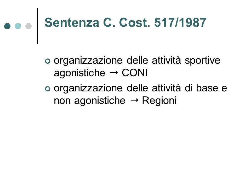 Sentenza C. Cost. 517/1987 organizzazione delle attività sportive agonistiche  CONI organizzazione delle attività di base e non agonistiche  Regioni