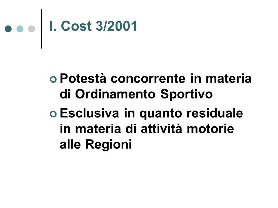 l. Cost 3/2001 Potestà concorrente in materia di Ordinamento Sportivo Esclusiva in quanto residuale in materia di attività motorie alle Regioni