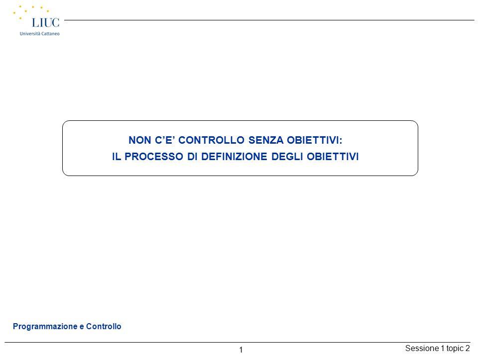 Sessione 1 topic 2 1 Programmazione e Controllo NON C'E' CONTROLLO SENZA OBIETTIVI: IL PROCESSO DI DEFINIZIONE DEGLI OBIETTIVI