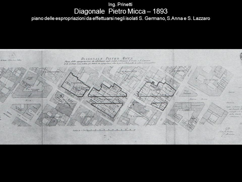 Ing. Prinetti Diagonale Pietro Micca – 1893 piano delle espropriazioni da effettuarsi negli isolati S. Germano, S.Anna e S. Lazzaro