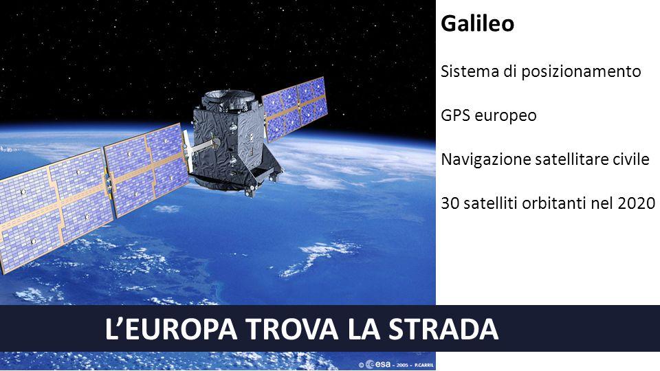 L'EUROPA TROVA LA STRADA Galileo Sistema di posizionamento GPS europeo Navigazione satellitare civile 30 satelliti orbitanti nel 2020