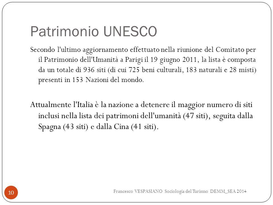 Patrimonio UNESCO Secondo l'ultimo aggiornamento effettuato nella riunione del Comitato per il Patrimonio dell'Umanità a Parigi il 19 giugno 2011, la