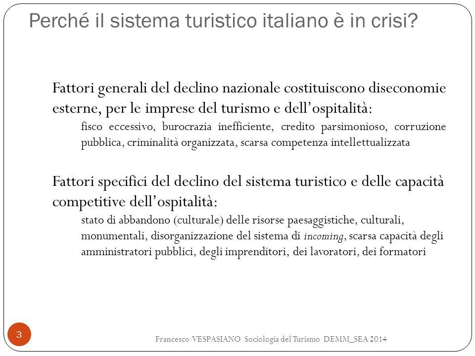 Perché il sistema turistico italiano è in crisi? Francesco VESPASIANO Sociologia del Turismo DEMM_SEA 2014 3 Fattori generali del declino nazionale co