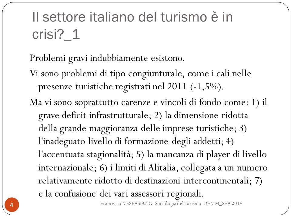 Il settore italiano del turismo è in crisi?_1 Problemi gravi indubbiamente esistono. Vi sono problemi di tipo congiunturale, come i cali nelle presenz