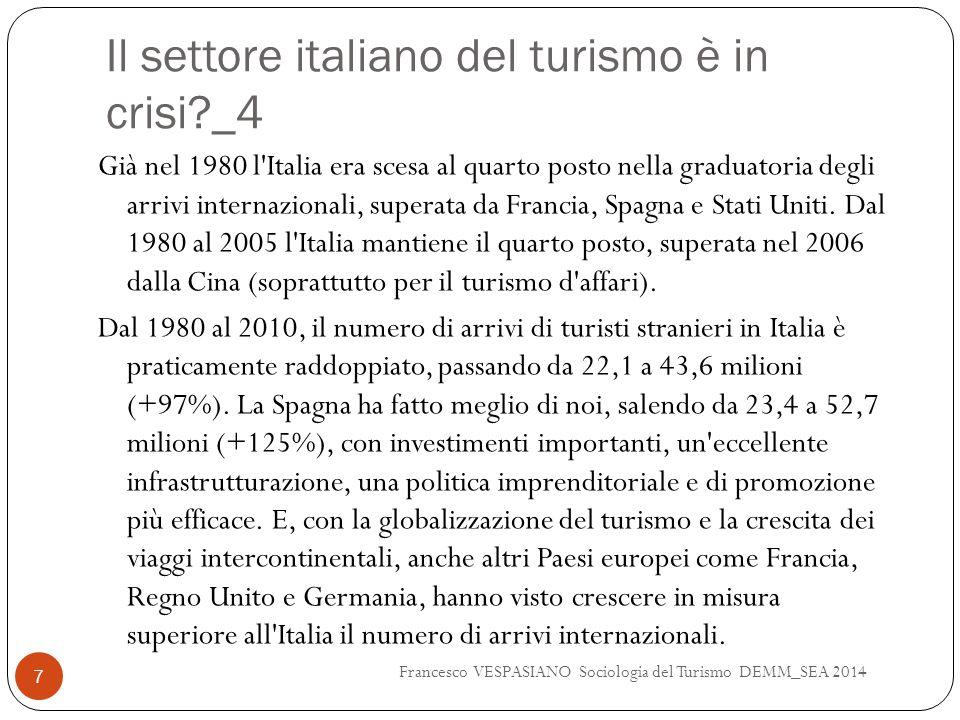 Il settore italiano del turismo è in crisi?_4 Già nel 1980 l'Italia era scesa al quarto posto nella graduatoria degli arrivi internazionali, superata