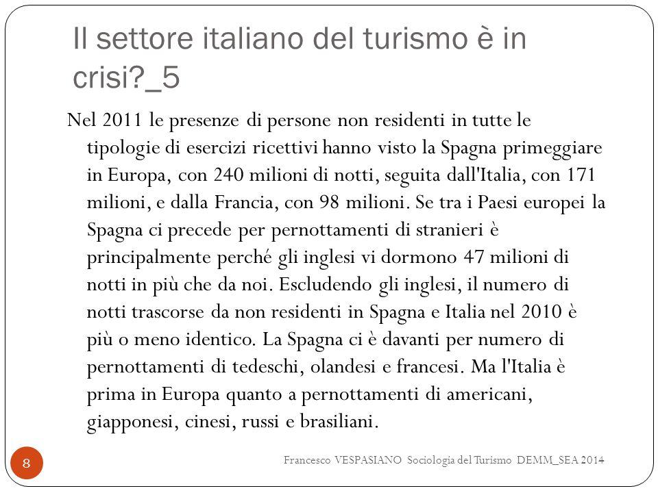 Il settore italiano del turismo è in crisi?_5 Nel 2011 le presenze di persone non residenti in tutte le tipologie di esercizi ricettivi hanno visto la Spagna primeggiare in Europa, con 240 milioni di notti, seguita dall Italia, con 171 milioni, e dalla Francia, con 98 milioni.