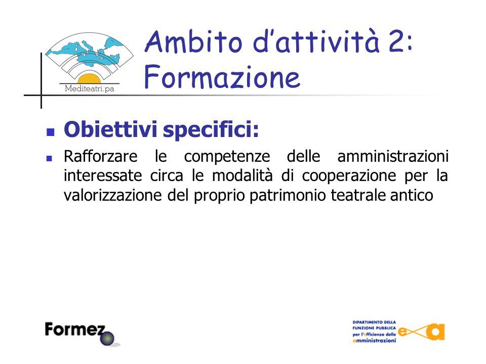 Ambito d'attività 2: Formazione Strumenti: Seminari di approfondimento Corsi di formazione Strumenti di auto-formazione Presentazione di modelli e buone pratiche