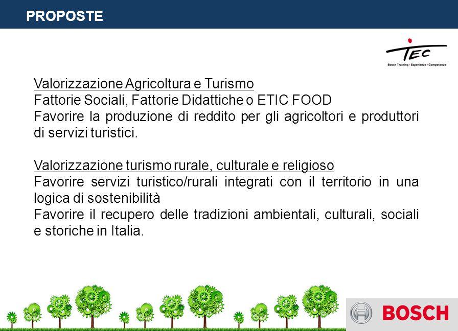 Valorizzazione Agricoltura e Turismo Fattorie Sociali, Fattorie Didattiche o ETIC FOOD Favorire la produzione di reddito per gli agricoltori e produttori di servizi turistici.