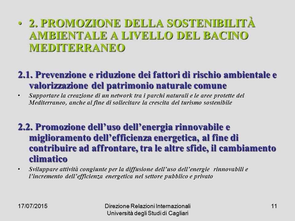 17/07/2015Direzione Relazioni Internazionali Università degli Studi di Cagliari 1117/07/2015Direzione Relazioni Internazionali Università degli Studi di Cagliari 11 2.