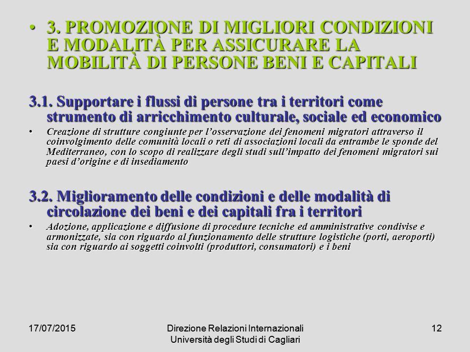 17/07/2015Direzione Relazioni Internazionali Università degli Studi di Cagliari 1217/07/2015Direzione Relazioni Internazionali Università degli Studi di Cagliari 12 3.