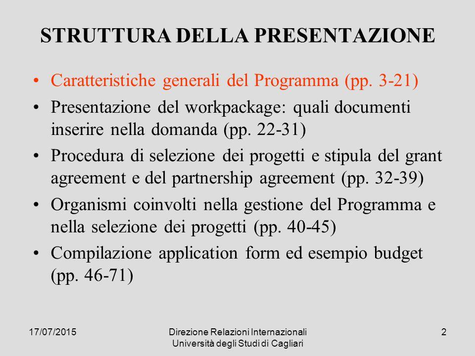 17/07/2015Direzione Relazioni Internazionali Università degli Studi di Cagliari 3317/07/2015Direzione Relazioni Internazionali Università degli Studi di Cagliari 33 Procedura di selezione 1.Il candidato sottopone la proposta di progetto alla JMA, seguendo l'application form 2.La JMA, con il supporto del JTS, verifica la completezza dell'application sotto il profilo amministrativo 3.L'application è sottoposta al vaglio del PSC, che valuta l'eleggibilità dei partners, la capacità di implementazione del progetto e la coerenza con le altre politiche e i programmi nazionali e regionali 4.La PSC redige l'Evaluation Report, contenente la lista dei progetti valutati positivamente, che la JMA provvede a trasmettere al JMC 5.Il JMC approva o modifica la lista di progetti sottoposta dal PSC.