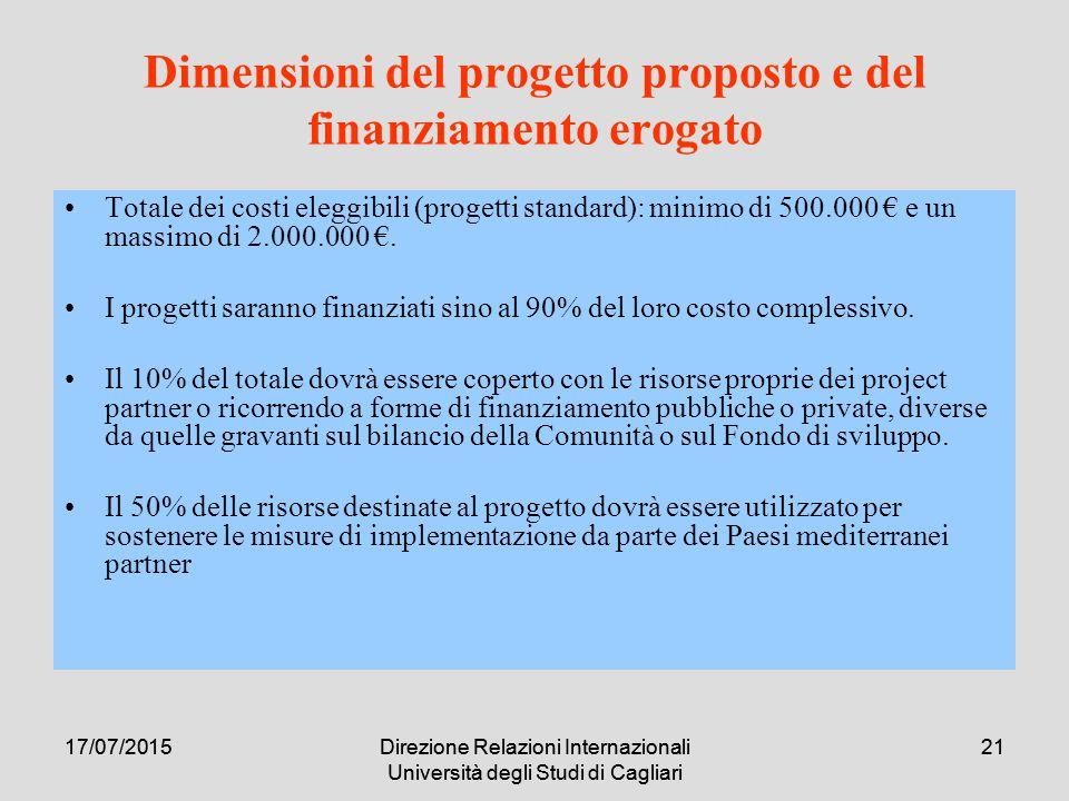 17/07/2015Direzione Relazioni Internazionali Università degli Studi di Cagliari 2117/07/2015Direzione Relazioni Internazionali Università degli Studi di Cagliari 21 Dimensioni del progetto proposto e del finanziamento erogato Totale dei costi eleggibili (progetti standard): minimo di 500.000 € e un massimo di 2.000.000 €.