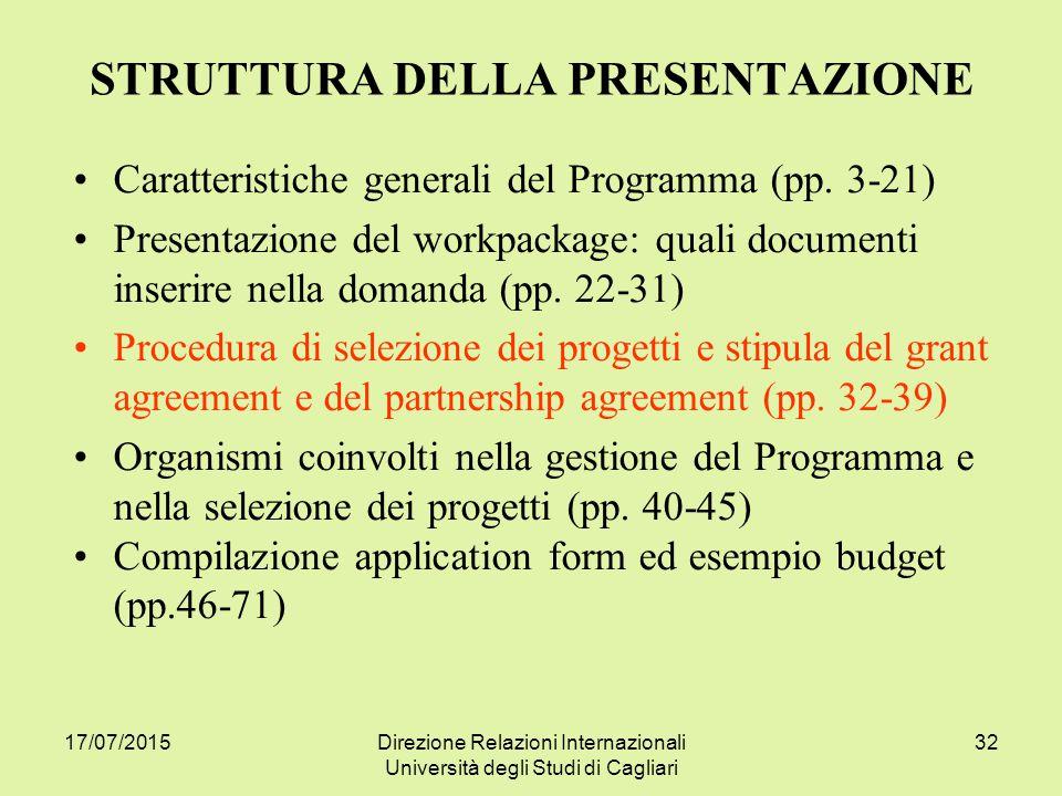 17/07/2015Direzione Relazioni Internazionali Università degli Studi di Cagliari 32 STRUTTURA DELLA PRESENTAZIONE Caratteristiche generali del Programma (pp.
