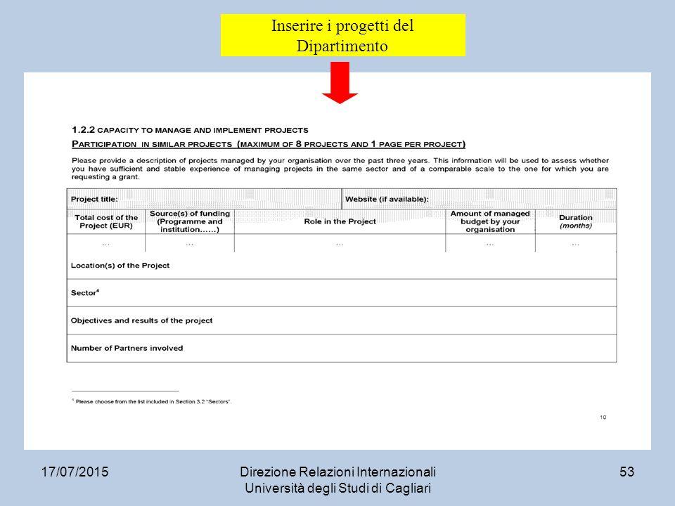 17/07/2015Direzione Relazioni Internazionali Università degli Studi di Cagliari 53 Inserire i progetti del Dipartimento