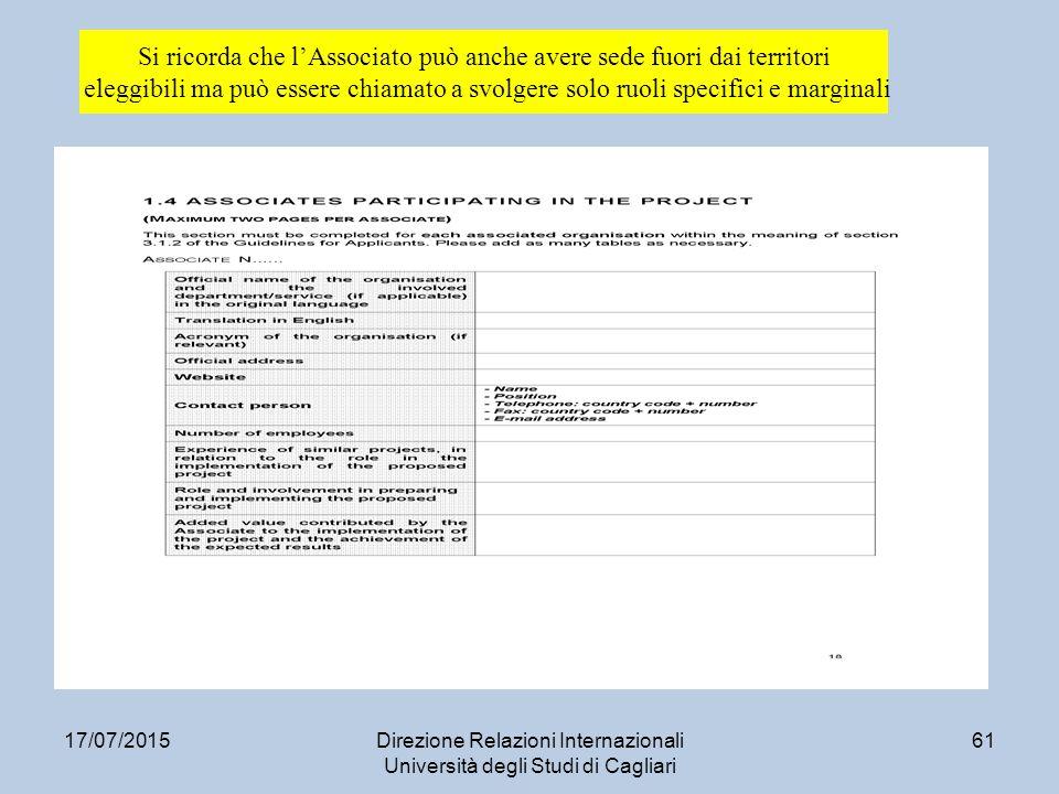 17/07/2015Direzione Relazioni Internazionali Università degli Studi di Cagliari 61 Si ricorda che l'Associato può anche avere sede fuori dai territori eleggibili ma può essere chiamato a svolgere solo ruoli specifici e marginali