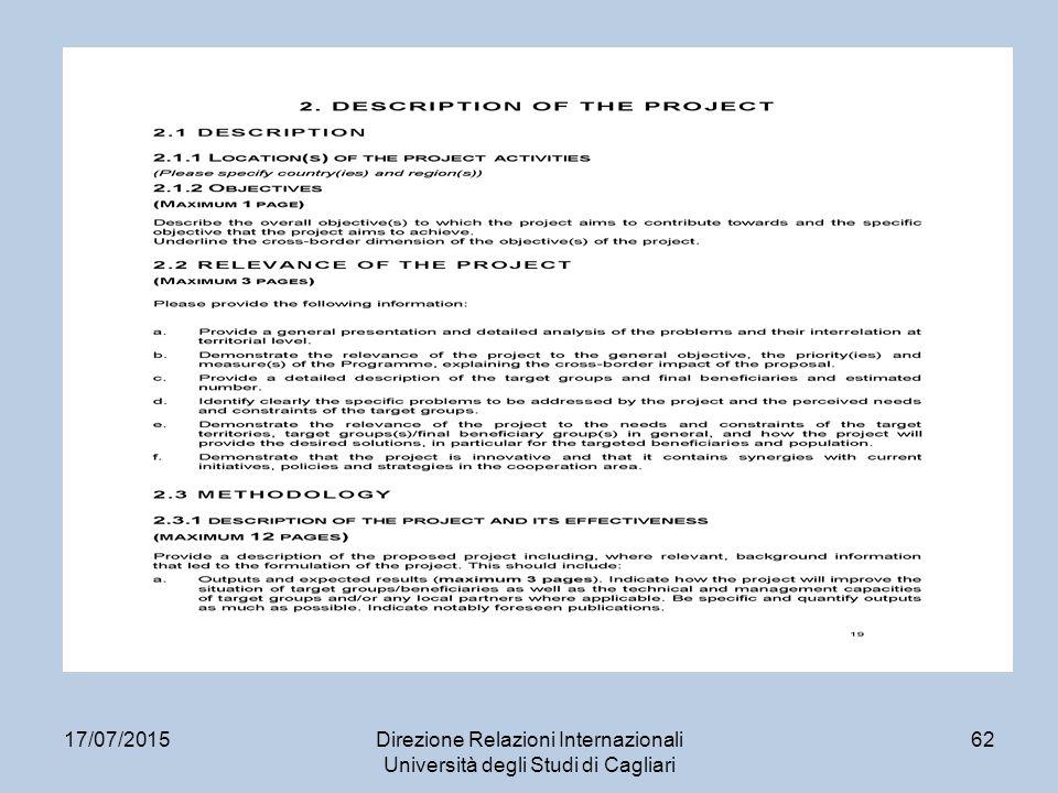 17/07/2015Direzione Relazioni Internazionali Università degli Studi di Cagliari 62