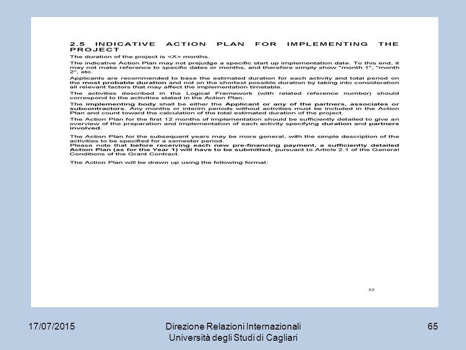 17/07/2015Direzione Relazioni Internazionali Università degli Studi di Cagliari 65