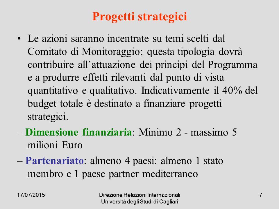 17/07/2015Direzione Relazioni Internazionali Università degli Studi di Cagliari 58 Dati da inserire a cura del Partner