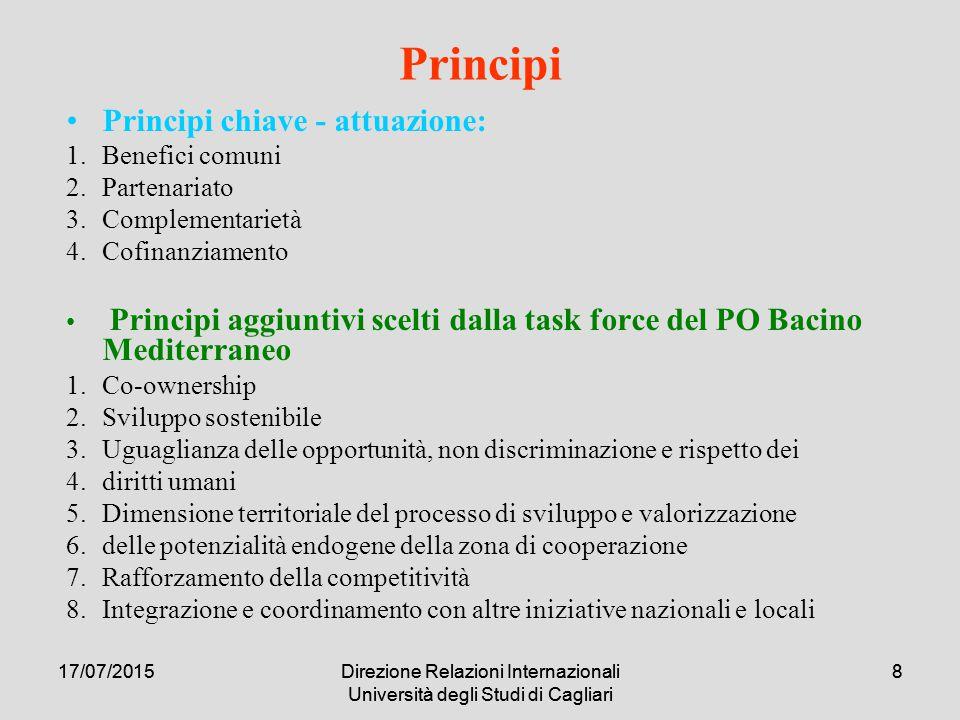 17/07/2015Direzione Relazioni Internazionali Università degli Studi di Cagliari 817/07/2015Direzione Relazioni Internazionali Università degli Studi di Cagliari 8 Principi Principi chiave - attuazione: 1.Benefici comuni 2.Partenariato 3.Complementarietà 4.Cofinanziamento Principi aggiuntivi scelti dalla task force del PO Bacino Mediterraneo 1.Co-ownership 2.Sviluppo sostenibile 3.Uguaglianza delle opportunità, non discriminazione e rispetto dei 4.diritti umani 5.Dimensione territoriale del processo di sviluppo e valorizzazione 6.delle potenzialità endogene della zona di cooperazione 7.Rafforzamento della competitività 8.Integrazione e coordinamento con altre iniziative nazionali e locali