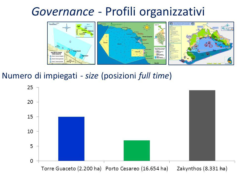 16 Numero di impiegati - size (posizioni full time) Governance - Profili organizzativi