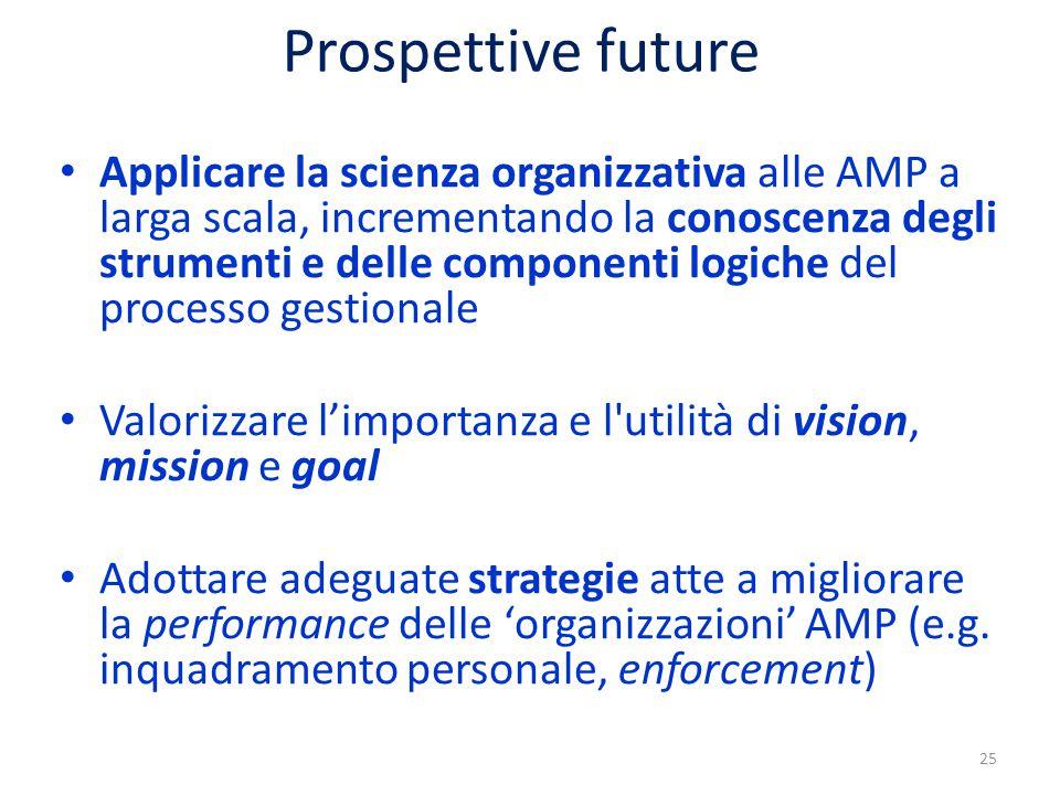Prospettive future Applicare la scienza organizzativa alle AMP a larga scala, incrementando la conoscenza degli strumenti e delle componenti logiche del processo gestionale Valorizzare l'importanza e l utilità di vision, mission e goal Adottare adeguate strategie atte a migliorare la performance delle 'organizzazioni' AMP (e.g.