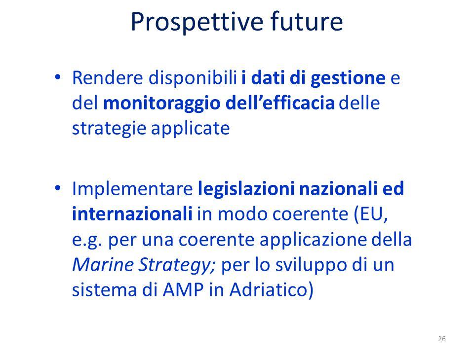 Prospettive future Rendere disponibili i dati di gestione e del monitoraggio dell'efficacia delle strategie applicate Implementare legislazioni nazionali ed internazionali in modo coerente (EU, e.g.