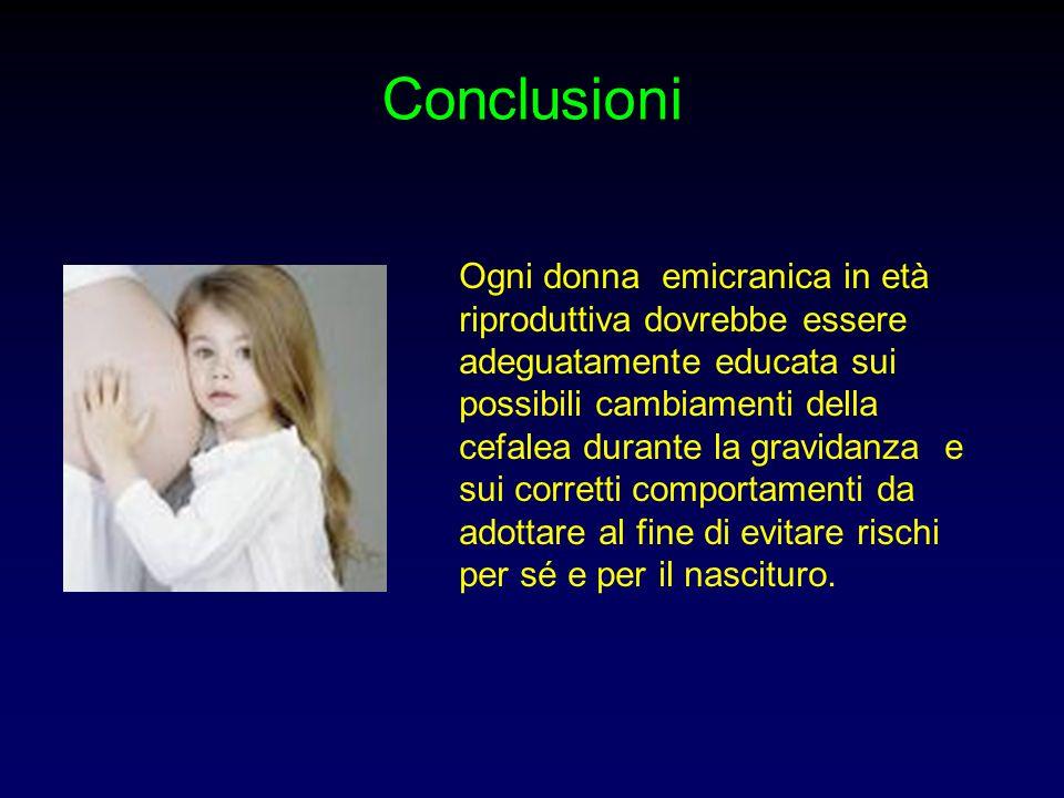 Conclusioni Ogni donna emicranica in età riproduttiva dovrebbe essere adeguatamente educata sui possibili cambiamenti della cefalea durante la gravida