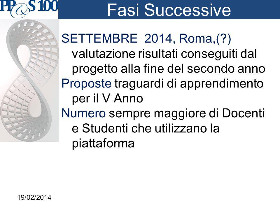 Fasi Successive SETTEMBRE 2014, Roma,( ) valutazione risultati conseguiti dal progetto alla fine del secondo anno Proposte traguardi di apprendimento per il V Anno Numero sempre maggiore di Docenti e Studenti che utilizzano la piattaforma 19/02/2014