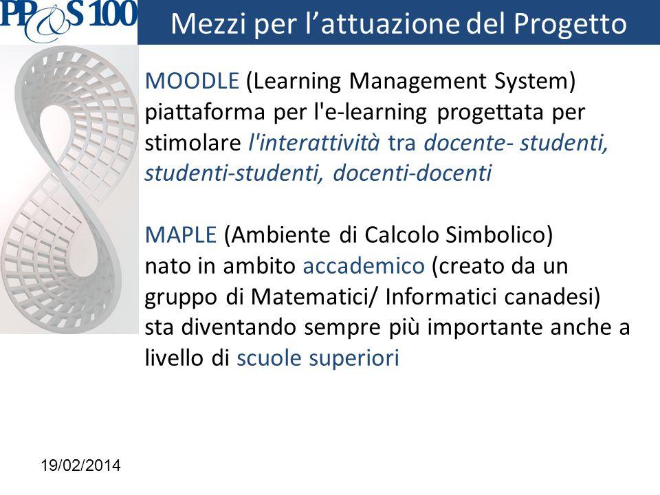 MOODLE (Learning Management System) piattaforma per l e-learning progettata per stimolare l interattività tra docente- studenti, studenti-studenti, docenti-docenti MAPLE (Ambiente di Calcolo Simbolico) nato in ambito accademico (creato da un gruppo di Matematici/ Informatici canadesi) sta diventando sempre più importante anche a livello di scuole superiori 19/02/2014 Mezzi per l'attuazione del Progetto