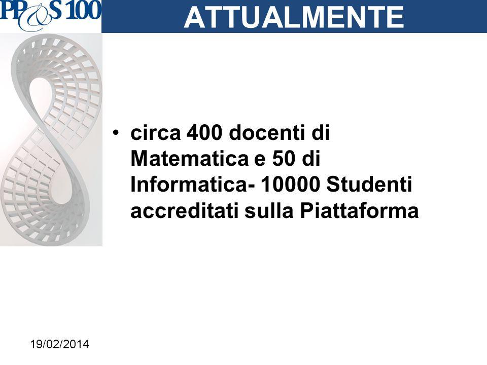 ATTUALMENTE circa 400 docenti di Matematica e 50 di Informatica- 10000 Studenti accreditati sulla Piattaforma 19/02/2014