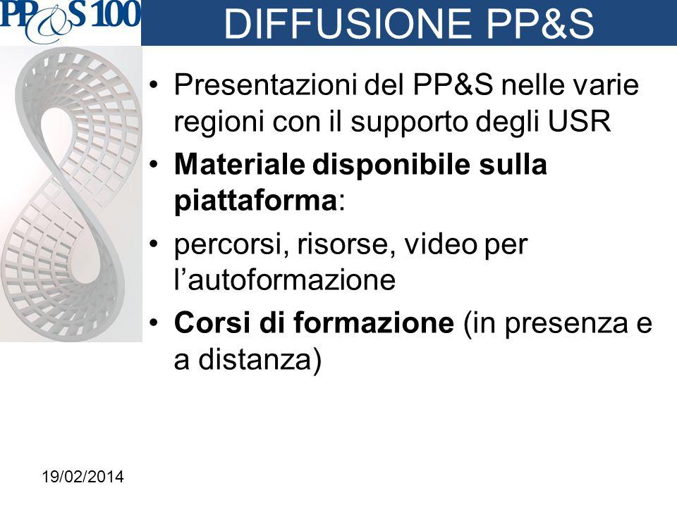 DIFFUSIONE PP&S Presentazioni del PP&S nelle varie regioni con il supporto degli USR Materiale disponibile sulla piattaforma: percorsi, risorse, video per l'autoformazione Corsi di formazione (in presenza e a distanza) 19/02/2014