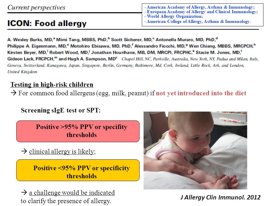 Screening sIgE test or SPT: Positive >95% PPV or specifity thresholds  clinical allergy is likely; Positive <95% PPV or specificity thresholds  a ch
