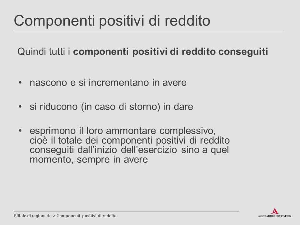 Quindi tutti i componenti positivi di reddito conseguiti nascono e si incrementano in avere si riducono (in caso di storno) in dare esprimono il loro