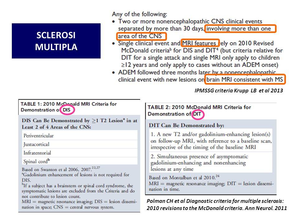 Polman CH et al Diagnostic criteria for multiple sclerosis: 2010 revisions to the McDonald criteria. Ann Neurol. 2011 IPMSSG criteria Krupp LB et al 2