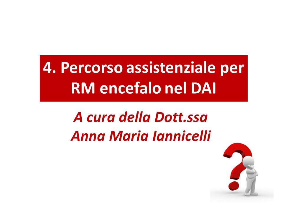 4. Percorso assistenziale per RM encefalo nel DAI A cura della Dott.ssa Anna Maria Iannicelli