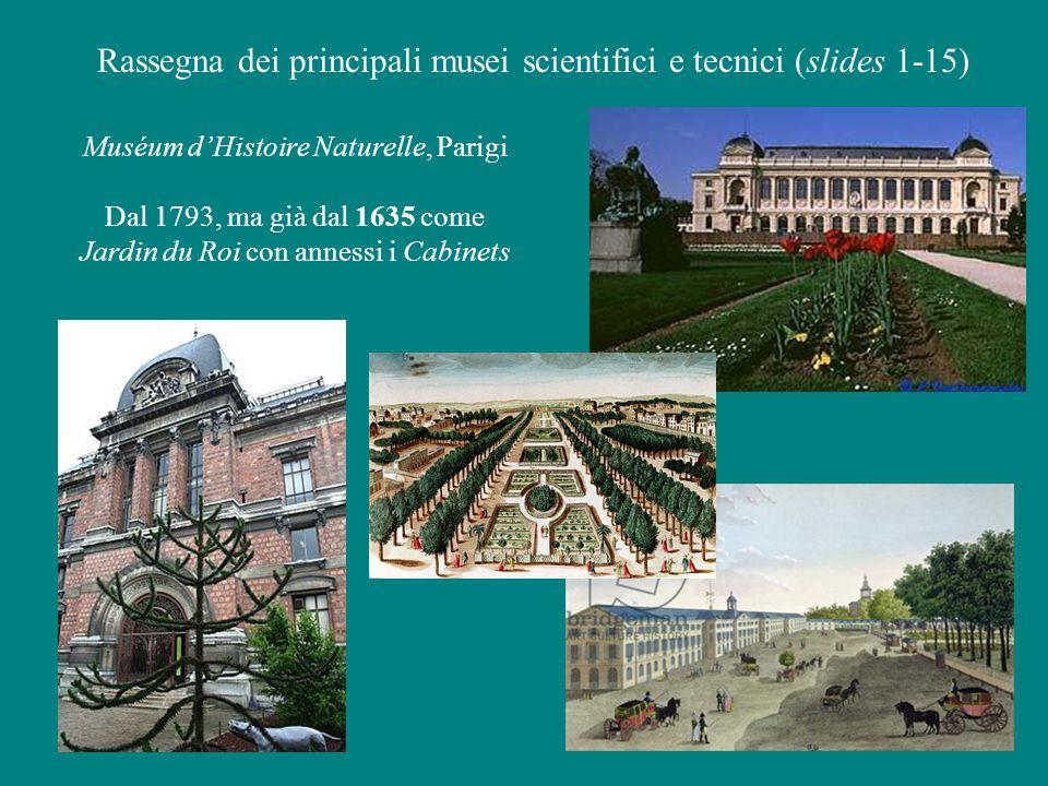 Muséum d'Histoire Naturelle, Parigi Dal 1793, ma già dal 1635 come Jardin du Roi con annessi i Cabinets Rassegna dei principali musei scientifici e tecnici (slides 1-15)